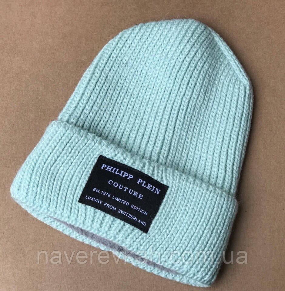 Женская зимняя теплая вязанная шапка вязка флис черный графит синий красный ментол марсала зелёный пудра