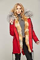 Парка женская зимняя красная с рыжим мехом