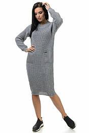 Теплое вязаное платье с карманами, 44-50 серый