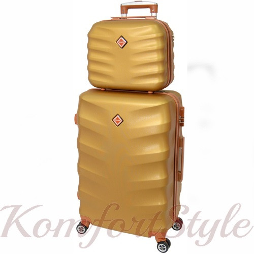 Комплект чемодан и кейс Bonro Next  средний золотой (10066802)
