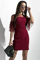 Женское платье бордового цвета. Женское нарядное платье мини. Женская одежда. Женское платье