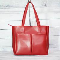 Женская классическая красная сумка