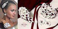 """""""Бело-бордовые фрезии"""" серьги+браслет+гребень. Комплект авторских украшений, фото 1"""
