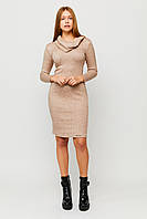 Песочное ангоровое облегающее платье, фото 1