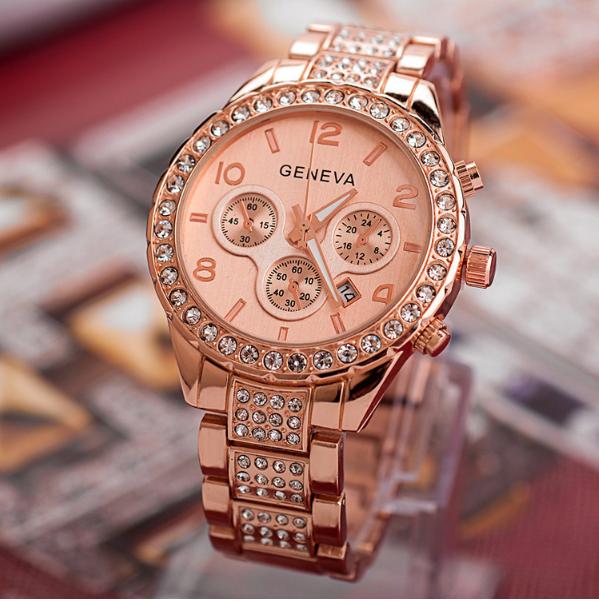 Часы женские Geneva Paidu Swarowski дата работает 3 цвета