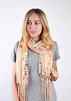 Butef Нарядный шарф c пайетками пудровый 160*65 (+15 см. бахрома*2) (M3422)