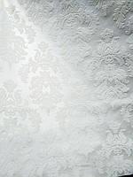 Меблевий кожзам перли з набитим флоковым малюнком ширина 140 см колір білий, фото 1