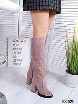 Женские cапоги натуральная замша до колена цвет пудра 16\к-1276-1, фото 2