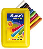 Пластилин Pelikan Creaplast 320г 9 цветов в желтом пластиковом пенале (622704)