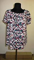 Блуза женская  с цветочным рисунком, 46,48, 50,52, тонкая легкая ,купить , Бл 019-6