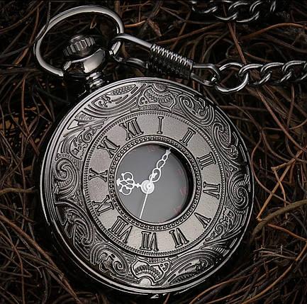 Карманные чёрные мужские часы на цепочке, фото 2