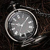 Карманные чёрные мужские часы на цепочке, фото 3