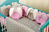 """Комплект постельного белья в кроватку """"Лесные звери"""" набор постельного белья в кроватку"""