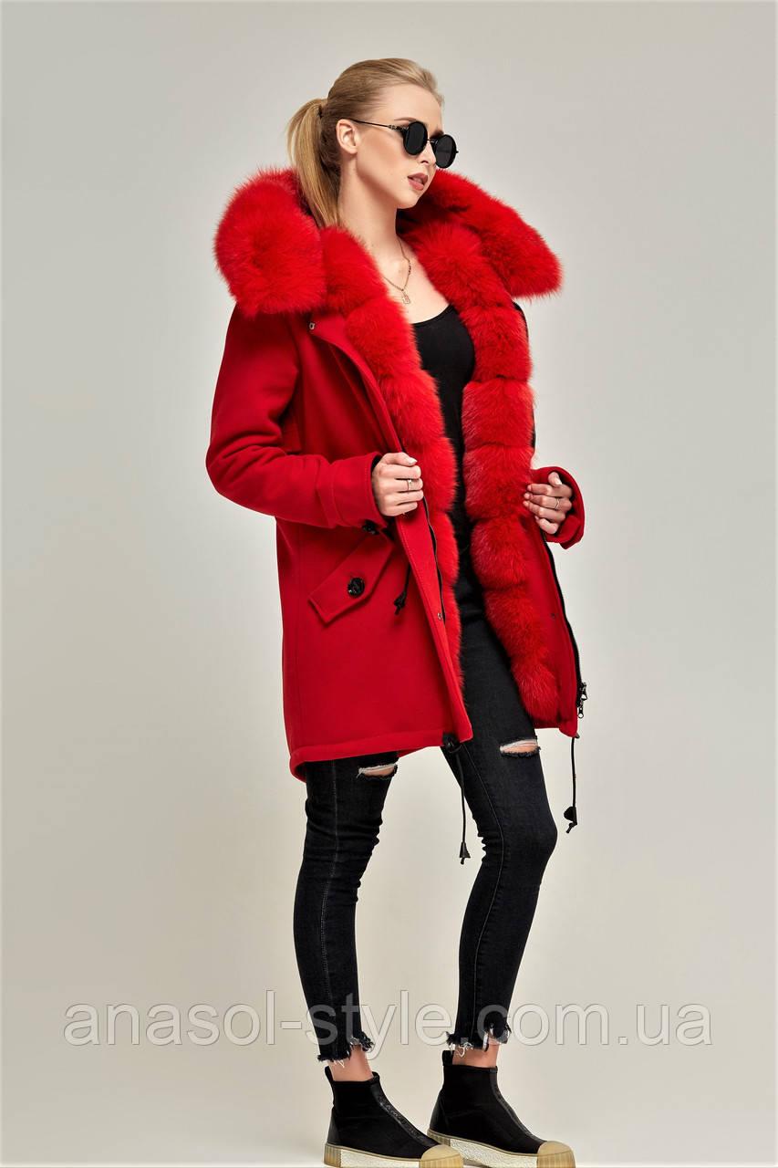 Зимова жіноча парку-пальто ML червона