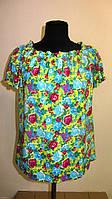 Блуза женская  с цветочным рисунком, 46,48, 50,52, тонкая легкая ,купить , Бл 019-7.