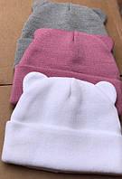 Женская зимняя теплая шапка с ушками акрил шерсть, фото 1