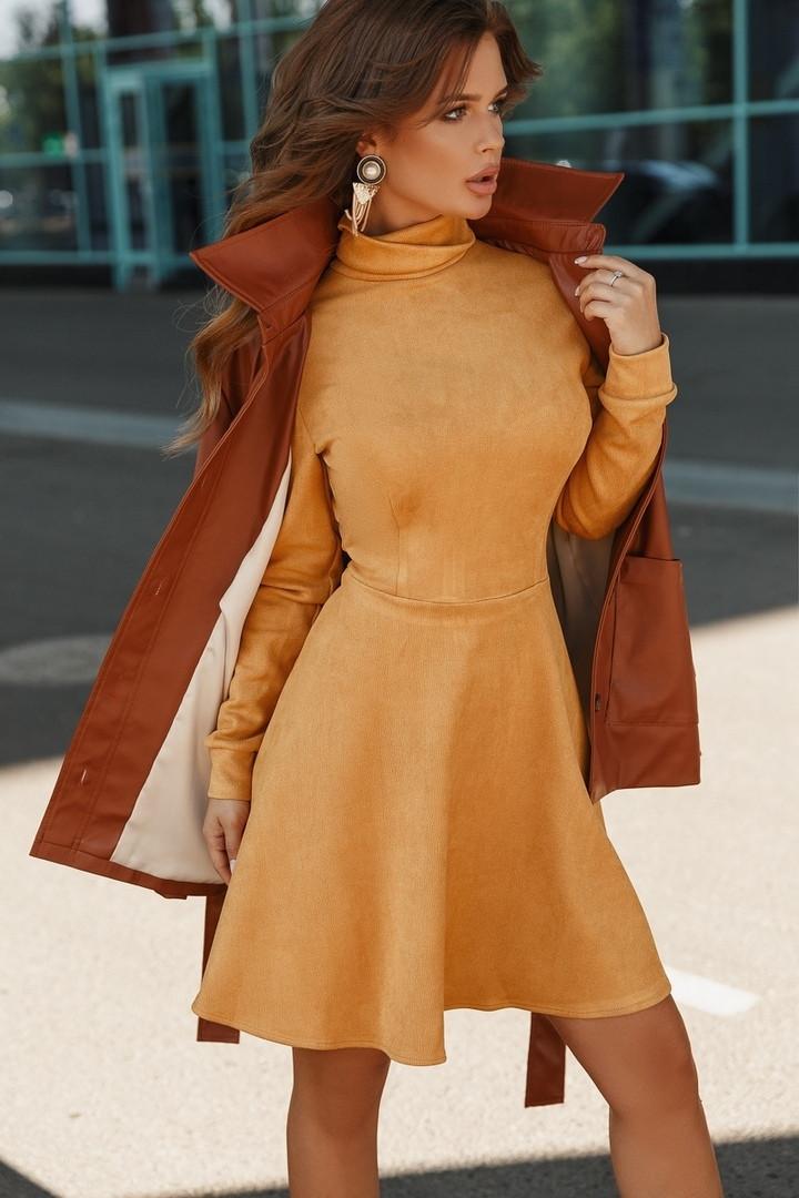 Приталенное короткое женское замшевое платье 40-42, 42-44, 44-46