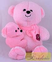 Мягкая игрушка Медведь с ребенком 35 см 30074 (розовый)