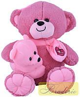 Мягкая игрушка Медведь с ребенком 35 см 30074 (сирень)