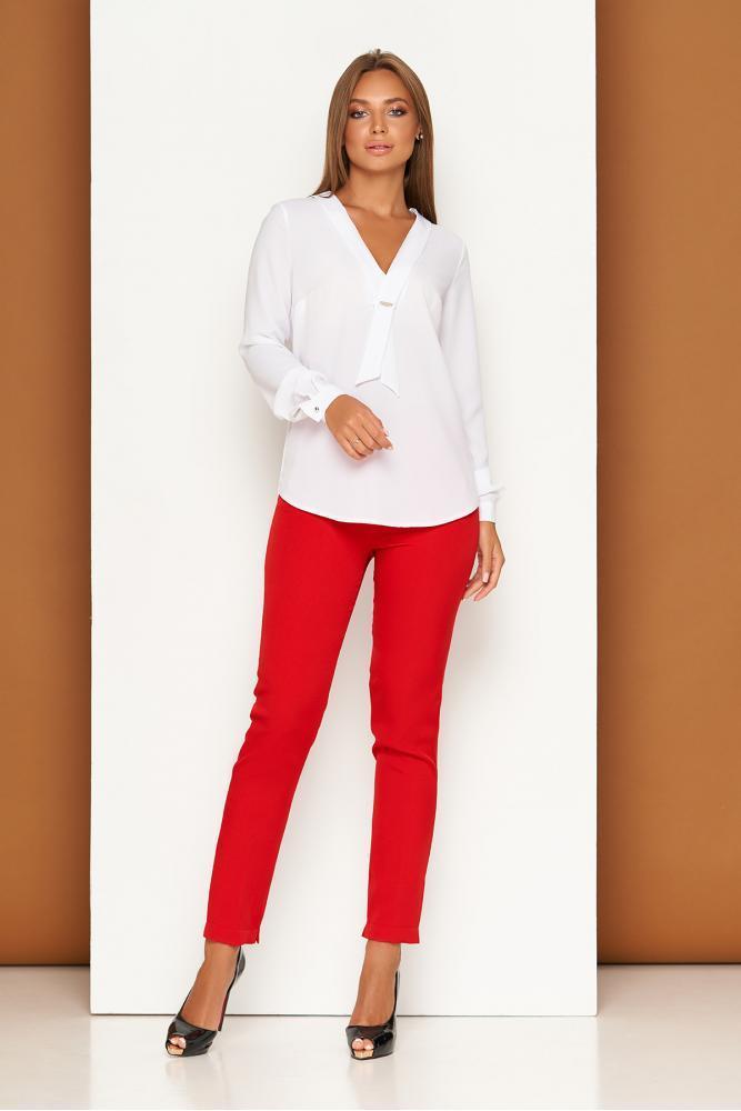 Зауженные красные женские классические брюки