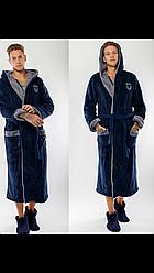 Мужской длинный халат с капюшоном,размер L и XL