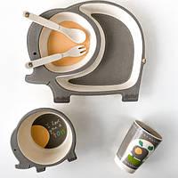 Детская бамбуковая посуда Слоненок, набор из 5 предметов - 145865