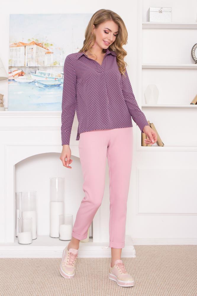 """Классические темно-розовые костюмные брюки """"AZ-127"""" с подворотами"""