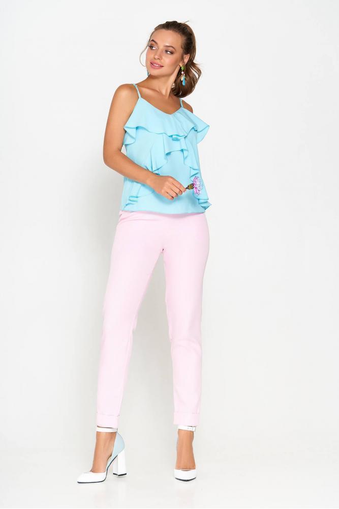 """Классические розовые костюмные брюки """"AZ-127"""" с подворотами"""