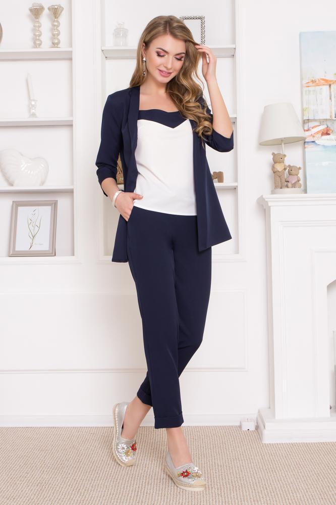 """Классические темно-синие костюмные брюки """"AZ-127"""" с подворотами"""