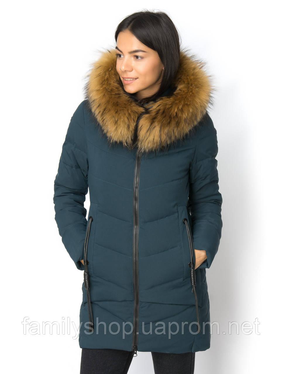 Женская зимняя куртка  с натуральным мехом енота