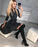 Замшевое платье черного цвета S-M, M-L р.
