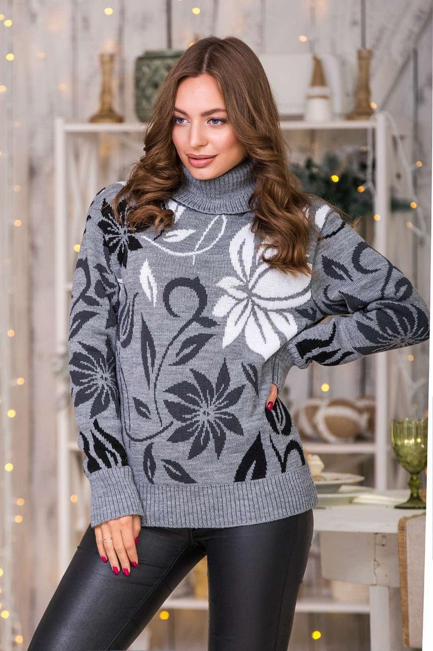 Молодежный свитер теплый с горлом теплый с горлом Серый