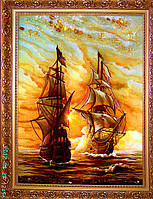 "Янтарная картина, ""Парусник"", морской пейзаж"