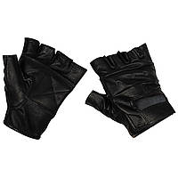 Перчатки без пальцев кожаные чёрные MFH