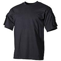 Тактическая футболка спецназа США, чёрная, с карманами на рукавах, х/б MFH, фото 1