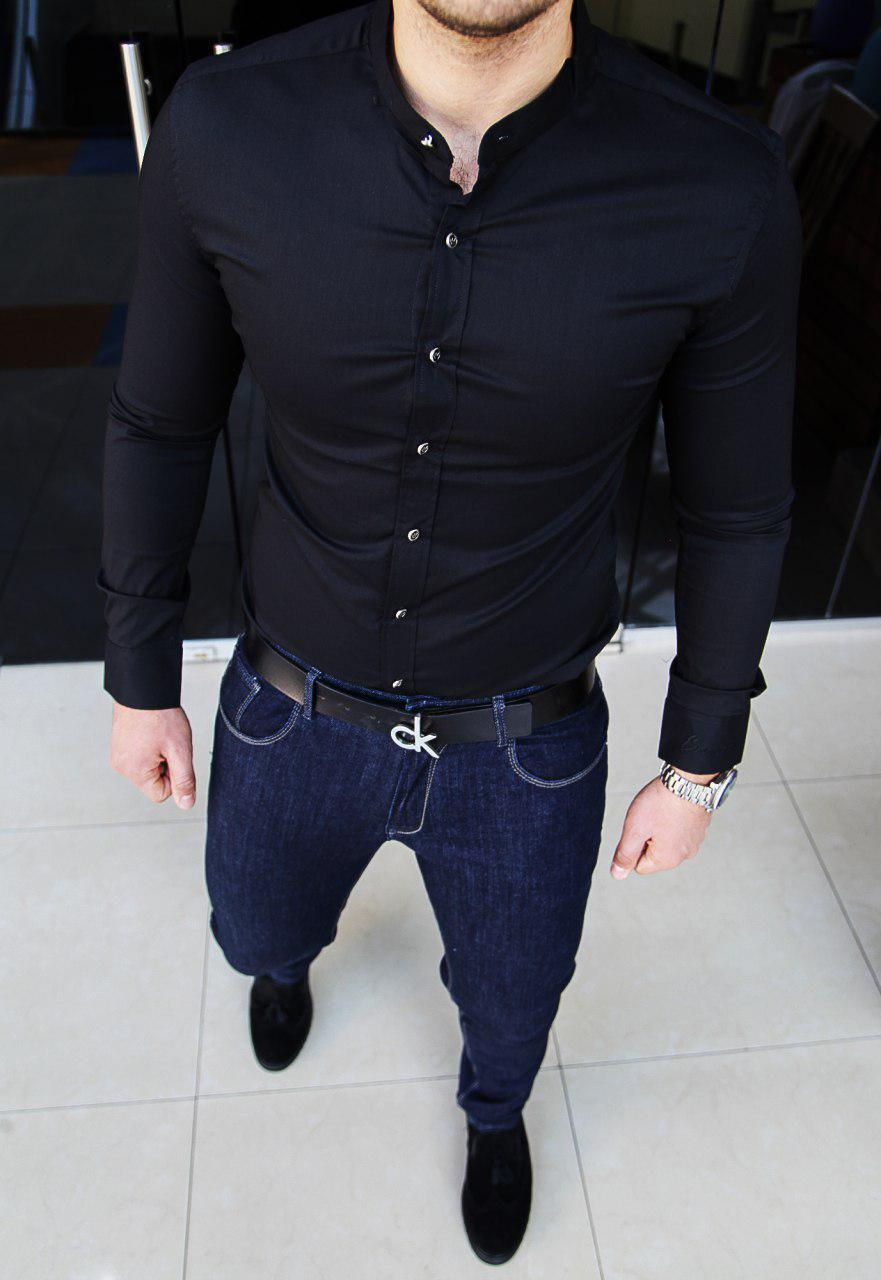 Рубашка мужская Emporio Armani H0045 черная