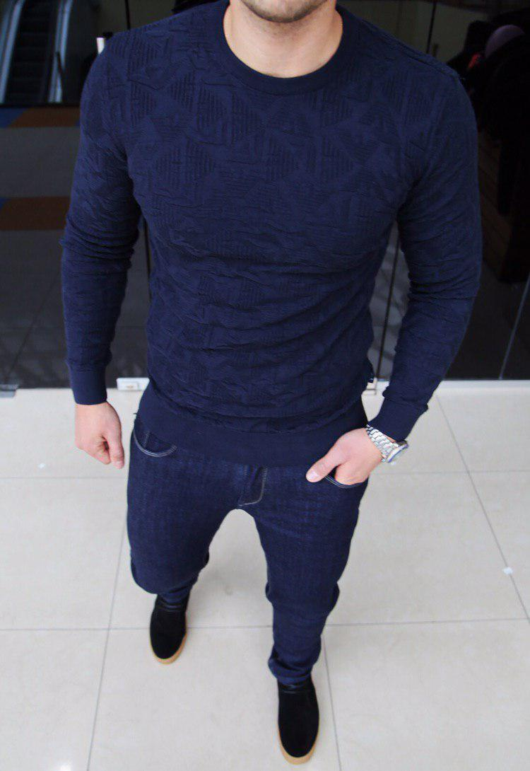 Свитшот мужской Armani H0091 темно-синий