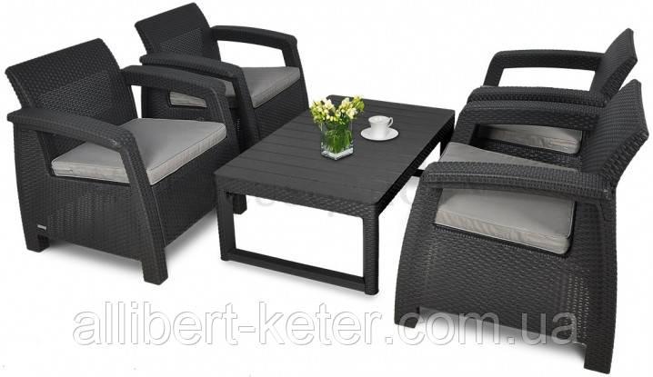 Набор садовой мебели Corfu Quattro Lyon Set из искусственного ротанга