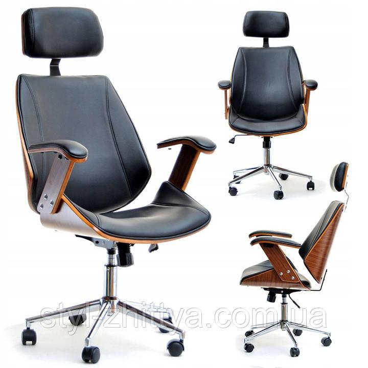 Офісне крісло дерев'яне + еко-шкіра FRANK