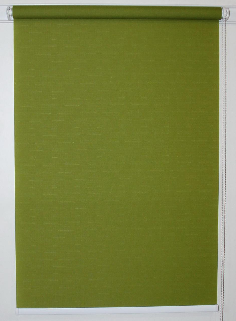 Готовые рулонные шторы 300*1500 Ткань Лён 7383 Оливковый, фото 1