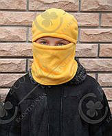 Детская, взрослая шапка шлем, маска, балаклава.  Полар флис цвета, размеры 52, апельсин
