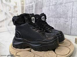 Зимние высокие кроссовки из эко кожи 36-40 р чёрный