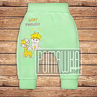 Тёплые детские штанишки р 56 0-1 мес наружные швы широкая еврорезинка для новорожденных ФУТЕР 3179 Зеленый В