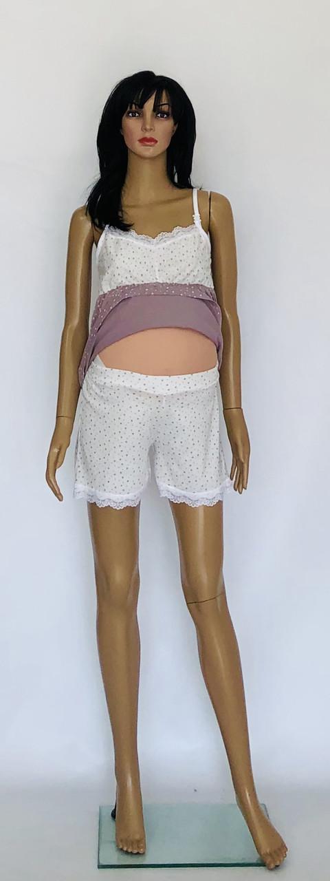Комплект для беременных и кормящих мам топ и шорты хлопковые