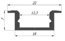 Алюмінієвий профіль врізний ЛПВ7 для світлодіодних стрічок лед 12041
