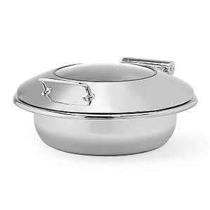 Мармит индукционный круглый со стеклянной крышкой 6 л, нержавеющая сталь, Premium, Fine Dine