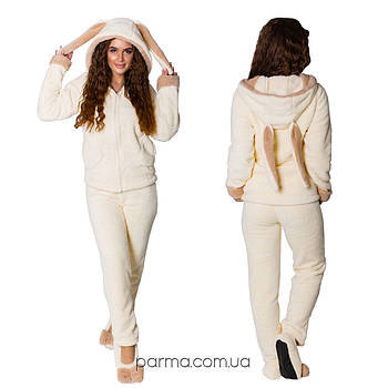 Теплый домашний костюм - пижама с ушками (р.42-44,46-48) махра
