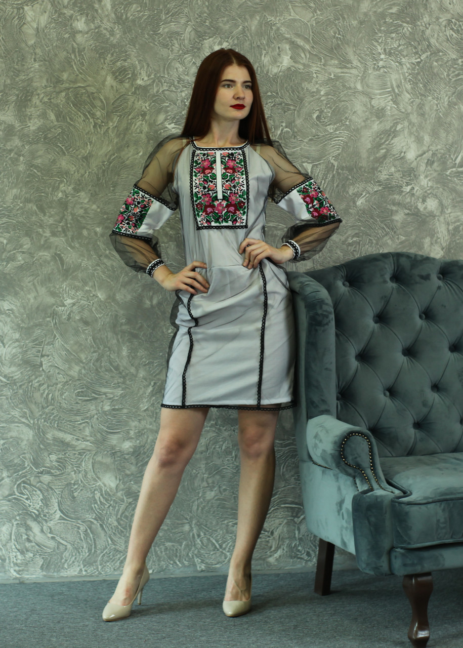 """Женское вышитое платье """"Ангелина"""" PJ-0021"""