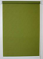 Готовые рулонные шторы 875*1500 Ткань Лён 7383 Оливковый