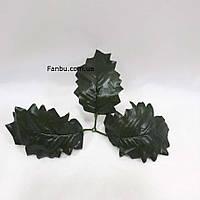 Искусственные листья падуба 1уп-50шт боковые 3-ка(темно зеленые)., фото 1